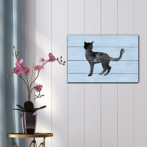 Silhouettes of Cats Made with Watercolor on Light Blue Background