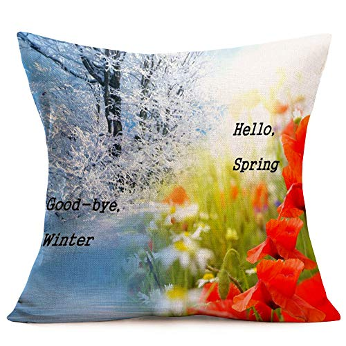 Royalours Good-Bye Winter, Hello Spring Landscape Spring Floral Art Print Decorative Throw Pillow Covers Square Cushion Cover 18 x 18 inches Toss Throw Pillowcase (Winter-Spring)]()