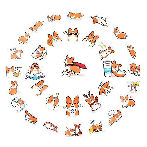 HAWORTHS Cute Corgi Sticker, Diary Scrap Book Scrapbooking Decor Decoration Sricker for DIY Albums Diary Laptop Decoration, Set of 2