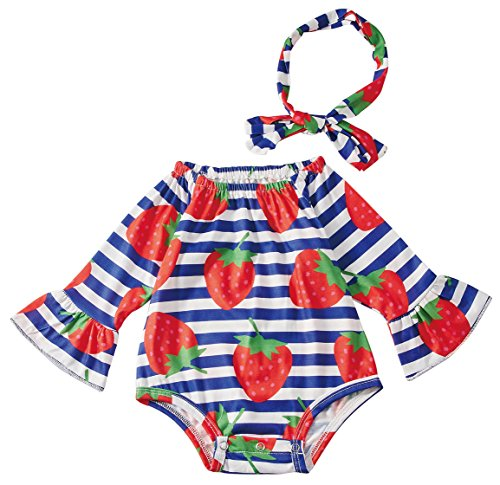 Leapparel Blue Stripe Strawberry Bodysuits Girl Winter Jumpsuit Two Piece Outfit Novelty Clothes, Strawberry, 0-6 Months/Size 70