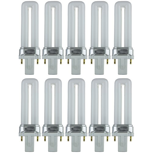 - Sunlite PL5/SP41K/10PK 2-Pin Fluorescent 5W 4100K Cool White U Shaped PL CFL Twin Tube Plugin Light Bulbs with G23 Base (10 Pack)