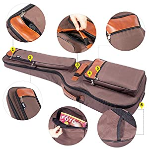CAHAYA Guitar Bag 40 41 42 Inches 6 Pockets [Upgraded Premium Version] Guitar Case Waterproof Oxford Cloth 0.5 Inch…
