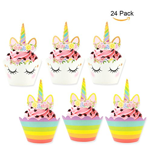 DTTUN Unicorn Cupcake Toppers Wrappers Rainbow Cupcake Stand Double Side Mini Cake Decorating Suppliers ()