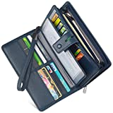 Women's Big Fat Rfid Blocking Leather Clutch Wallet Organizer Checkbook Holder (Navy Blue)