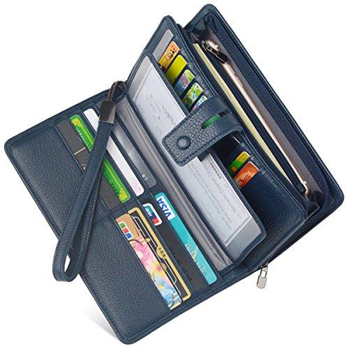 Women's Big Fat Rfid Blocking Leather Clutch Wallet Organizer Checkbook Holder (Navy Blue) - Leather Checkbook Cover Organizer Wallet