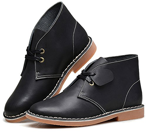Fangsto Mens Leather Ankle Chukka Boots Black VhcbNv78uX