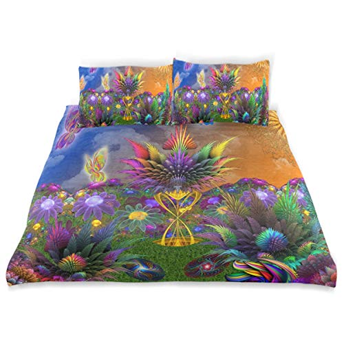 - YCHY Decor Duvet Cover Set, 3D Fractal Fantasy Rainbow Butterfly Garden A Decorative 3 Pcs Bedding Set with Pillowcases, Twin/Twin XL