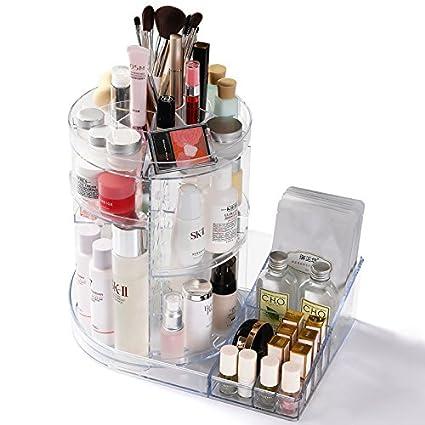 Cq acrylic 360 Rotating Makeup Organizer, DIY Adjustable Makeup Carousel Spinning Holder Storage Rack,