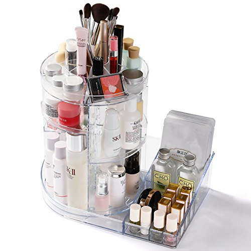 Cq acrylic 360 Rotating Makeup Organizer, DIY Adjustable Makeup Carousel Spinning Holder Storage Rack, Large Capacity Make up Caddy Shelf Cosmetics Organizer Box,Clear by Cq acrylic