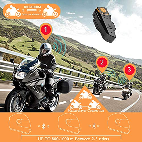 2a8ce263c96 Motorcycle Motorbike Helmet with Bluetooth Function Intercom Interphone  Headset 800m Water Resistant for 2 or 3 ...