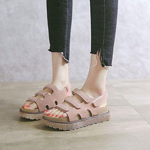 ... Cybling Sommer Flat Skinn Sandal For Kvinner Student Mote Tykk Bunn  Rund Tå Roman Sandal Aprikos ...