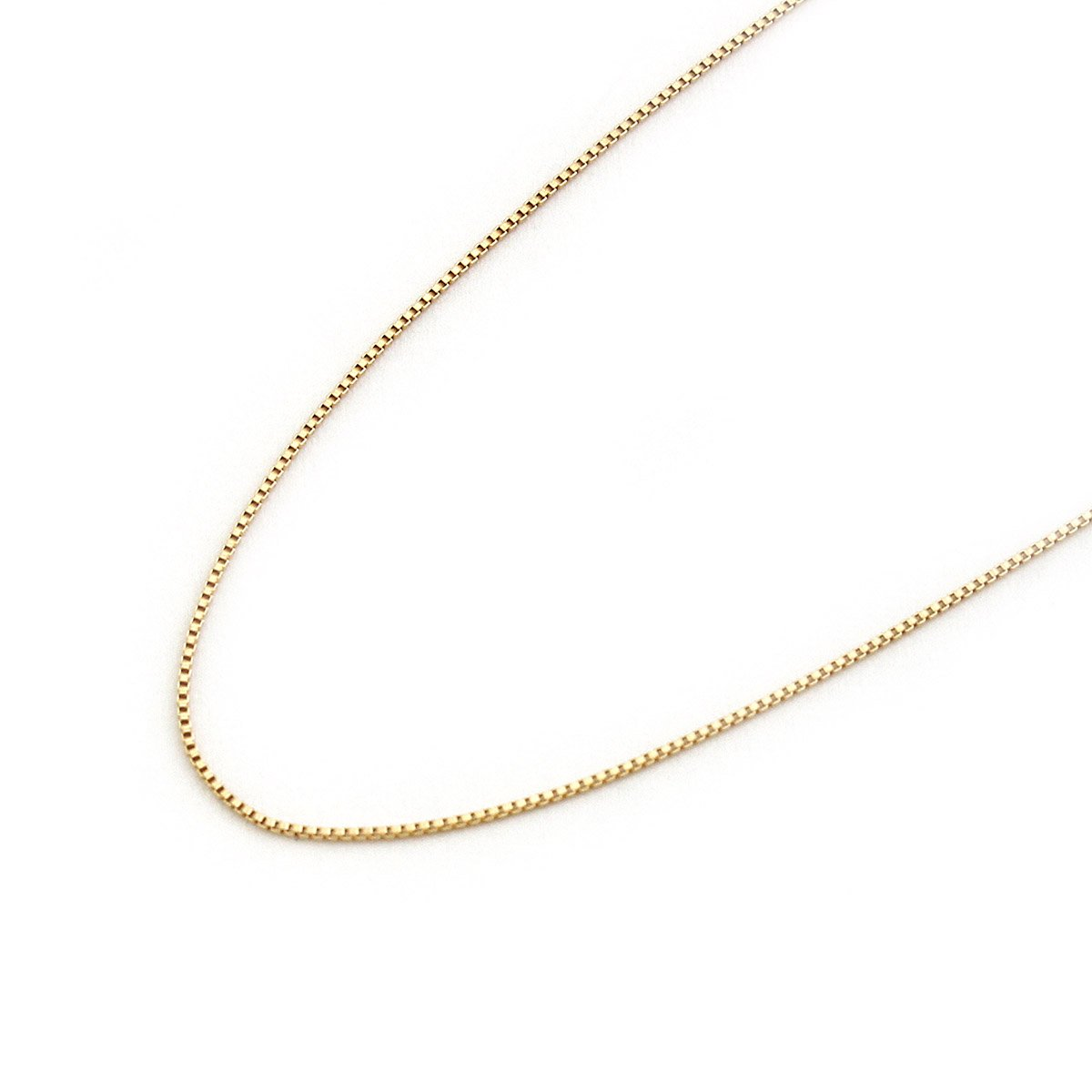 14k Solid Yellow, White or Rose Gold 0.55mm Box Chain Necklace, 13 15 16 18 20 22 13 Beauniq beauniq-8078