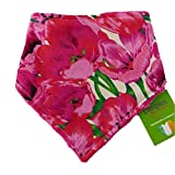 Dimples Dog Bandana - Pink Poppies (Handmade and Breeds) 14 inch