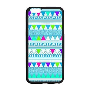 Creative Aztec Colorful Pattern Bohemian Style Blue Polka Dot and Zigzag Design Custom Luxury Cover Case with Best Silicon Rubber for Iphone 6 Plus 5.5inch