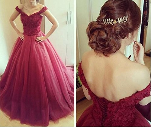 Evening Dresses V Ball Party Prom Lace White Neck Gown Tulle BessDress BD468 dTYqICwT