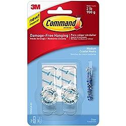 Command Crystal Hook, Clear, Medium, 2-Hook (17095CLR-ES)