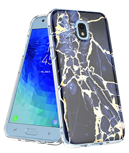 MOREFINE Galaxy J3 2018 Case (ONLY) Shiny Gold Marble Design,Clear Bumper TPU Soft Rubber Silicone Cover Protection Hybrid Armor Shockproof Phone for Samsung J3 V,Express Prime 3,J3 Achieve (Black)