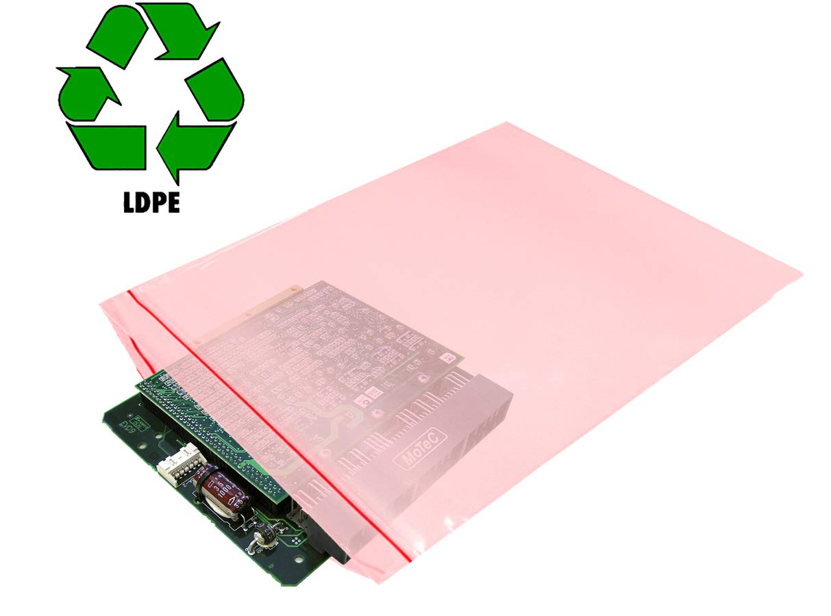 APQ Pack of 100 Anti-Static Seal Top Bags Ideal for Industrial Applications Amine free. storing Zip Locking bags 6x8 Ultra Thick Polyethylene packs 4 mil thickness Pink 6 x 8 Great for packaging