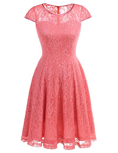 Dresstells Women's Bridesmaid Dress Retro Lace Swing Party Dresses with Cap-sleeves Coral XL
