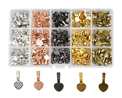 (Mandala Crafts Glue on Bails for Pendant Jewelry Making, Cabochon Setting Mix Kit (Heart, Gunmetal, Antique Bronze, Rose Gold, Gold, Silver)