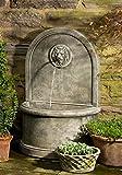 Campania International FT-165-AL Lion Wall Fountain, Aged Limestone Finish