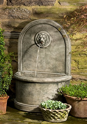 Campania International FT-165-TR Lion Wall Fountain, Travertine Finish