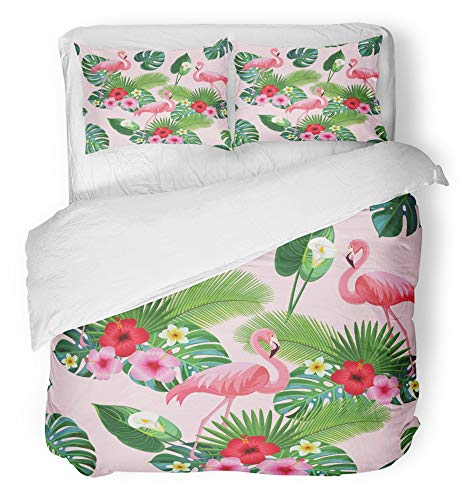 - Emvency 3 Piece Duvet Cover Set Breathable Brushed Microfiber Fabric Pink Monstera Flamingo Pattern Red Calla Lilly Composition Flowers Hibiscus Bedding Set with 2 Pillow Covers Full/Queen Size