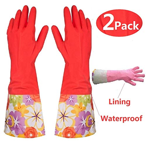 Kitchen Rubber Cleaning Gloves with Warm Lining Household Thickening PU Waterproof Dishwashing Latex Glove Large 2 Pairs