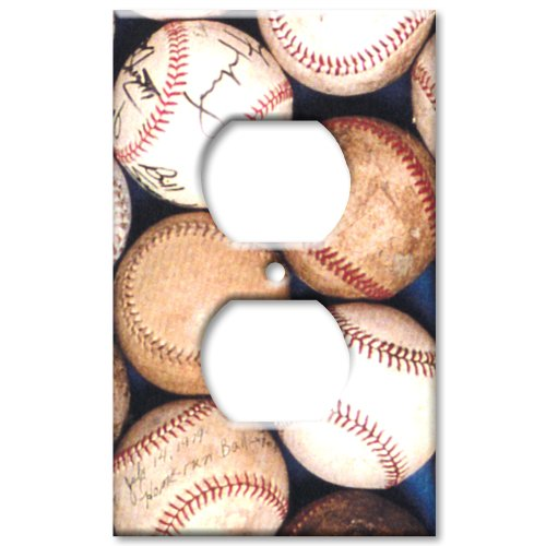Art Plates Baseballs (Old Baseballs Metal Wall Plate - Outlet Cover)