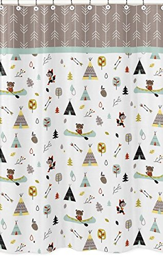 Outdoor Adventure Nature Fox Bear Animals Kids Bathroom Fabric Bath Shower Curtain