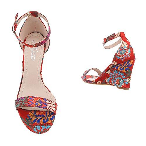 Ital-Design Chaussures Femme Sandales Compensé Sandales Compensees Rouge Multi c65BrdZDq