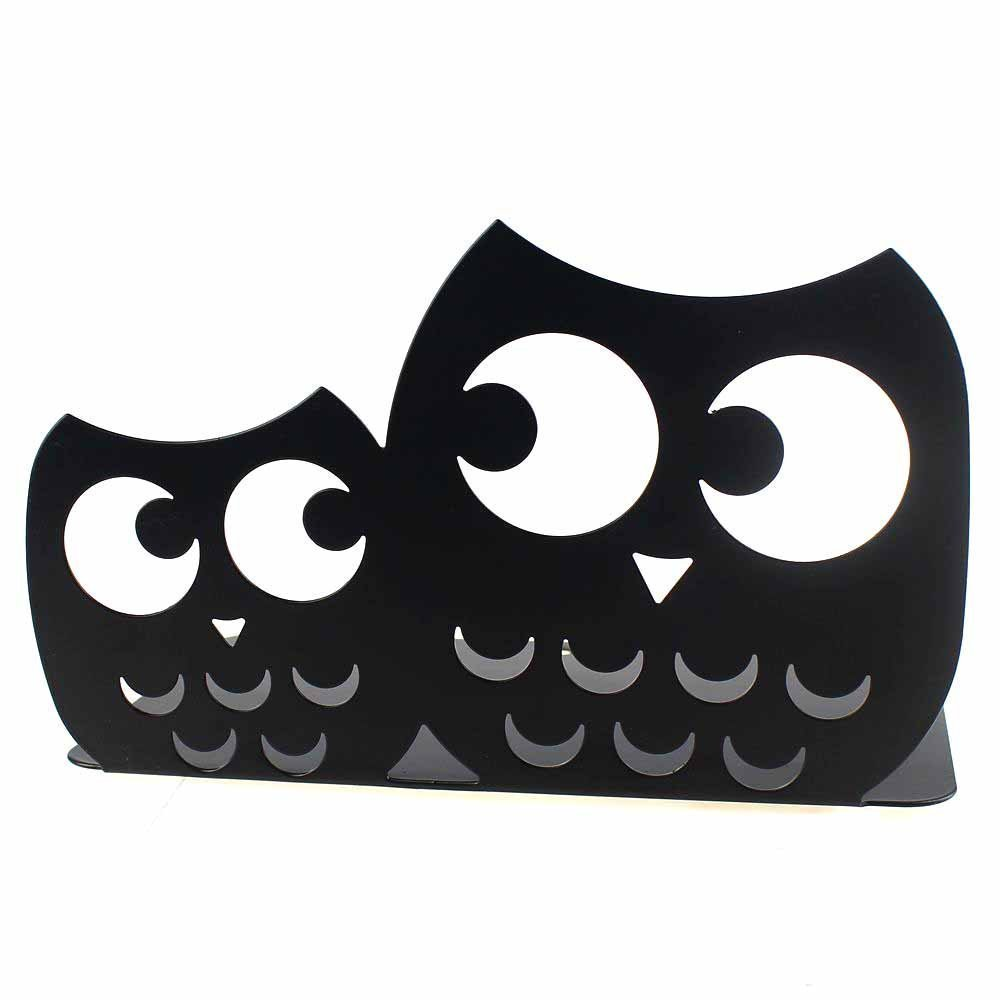 Bookends Book End Book Organizer,KIXIGO Cute Owl Nonskid Library School Office Home Study Metal Art Bookend gift ideal,1 Pair (Black)