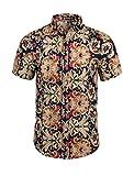 Allegra K Men Short Sleeve Button Down Vintage Floral Pattern Summer Casual Shirts Large Camel
