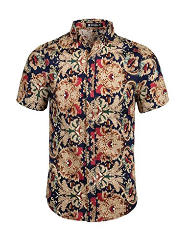 Allegra K Men Short Sleeve Button Down Vintage Print Summer Casual Shirt Small Camel (Men Shirts Vintage)