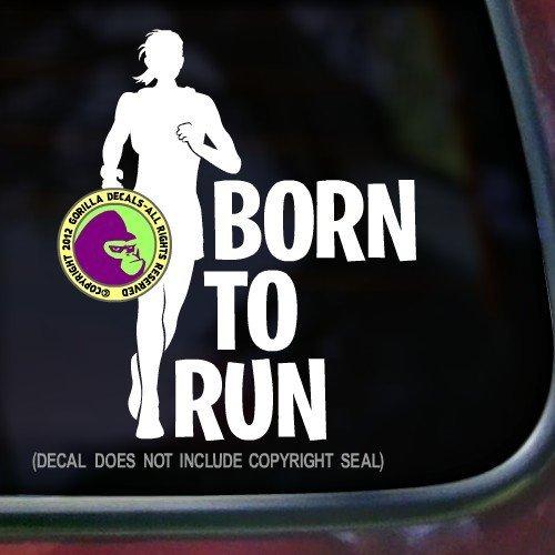 BORN TO RUN FEMALE Runner Marathon Vinyl Decal Sticker C