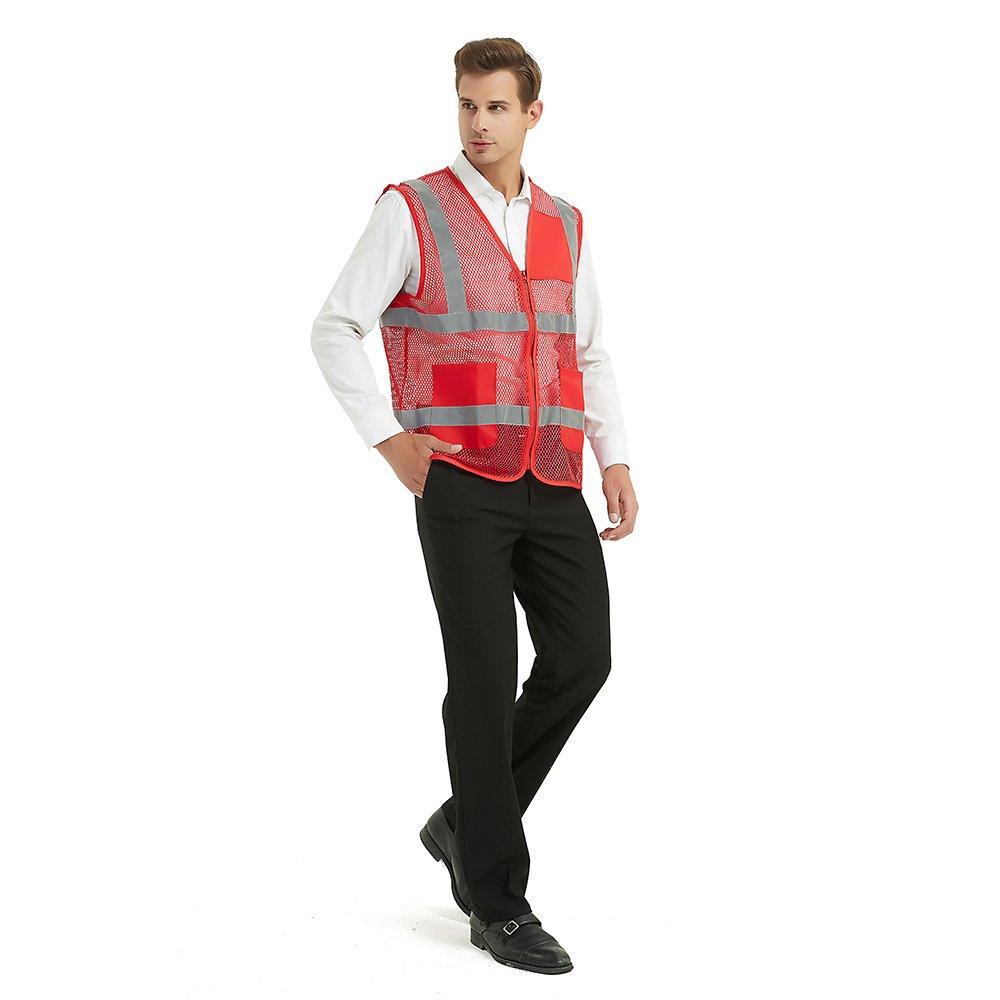 GOGO Chaleco de seguridad reflectante unisex con bolsillos