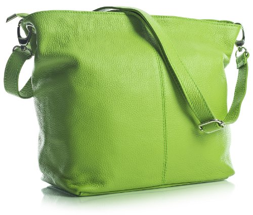 Lime Green Leather Self Bag Italian Green Bhbs Shoulder Medium For Cm Women In 30x25x14 wxhxd qOFHF6x