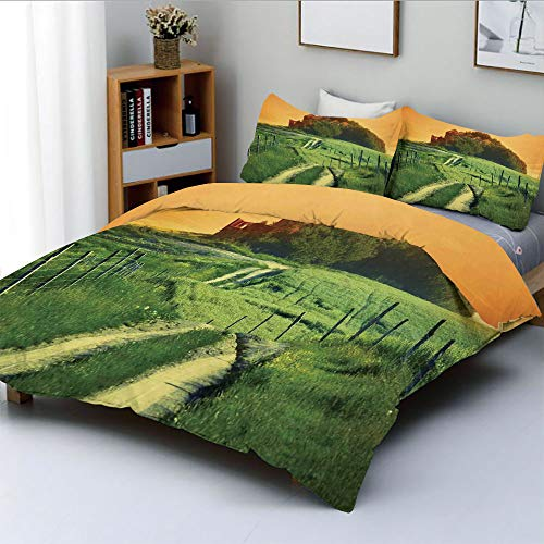 Duplex Print Duvet Cover Set King Size,Peaceful Landscape of Pienza Tuscany Vineyard Trees Rural Ancient Farm HouseDecorative 3 Piece Bedding Set with 2 Pillow Sham,Orange and Green,Best Gift For Kids