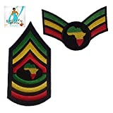 Rasta Military 2pcs. Patch Set - Including a Wing Patch and a Shield Patch with Africa - Wing Size 4 inches - Shield Size 4.75x2.50 - Rastafarian - Green Yellow Red - Iron On - Embroidery -DIY