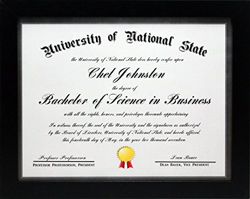- 8.5x11 Black Gallery Certificate and Document Frame - Wide Molding - Includes Both Attached Hanging Hardware and Desktop Easel - Award, Certificates, Documents, a Diploma, or a Photo 8.5 x 11