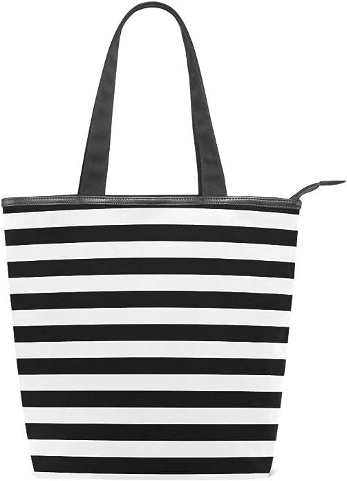Mnsruu - Bolso de lona grande para la playa, bolsa de compras de viaje, rayas blancas y negras, bolso de mano de vacaciones para mujer: Amazon.es: Zapatos y complementos