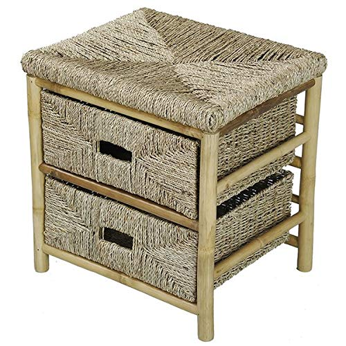 Wood Frame Storage Drawer - 2 Drawer Storage Chest with Seagrass Wicker Drawers - Brown ()