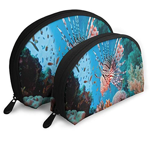 Half Moon Reef - Makeup Bag Lionfish Are Destroying Our Coral Reefs Handy Half Moon Beauty Bags Set Holder For Women,Girls 2 Piece