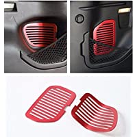 FMtoppeak 2 Pcs Red Aluminum Rear Trunk Liftgate Door Vent Mesh Trim For 2014 UP Jeep Renegade
