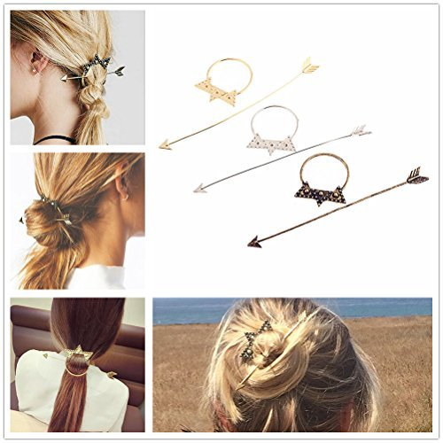 BOHO Antique Retro Metal Long Arrow Round Hoop Set Pierced Barrette Hair Fork Stick Slide Tuck Comb Clip Shawl Scarf Pin Brooch Hairpin Styling Ponytail Holder Bun Maker Tool Accessories GIFT
