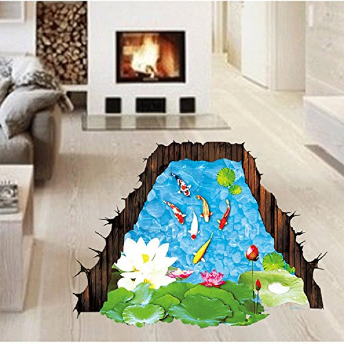 Amaonm Removable Creative 3D Fish Swim in The Hawthorn & Lotus Flowers leaf False Window Wall Decals Wall Stickers Murals for Bathroom Kids room Bedroom Front floor Living room Decorations
