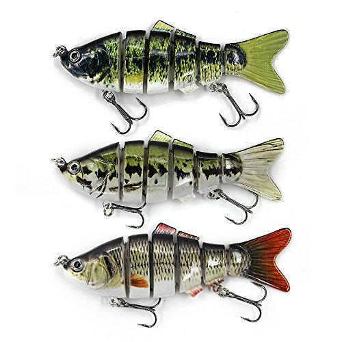 Swimbaits Glide Baits For Bass Fishing Lures Crankbait Jointed Trout Swimbait With Mustad Hooks (Combo)