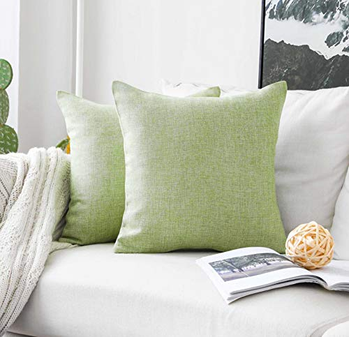 HOME BRILLIANT 2 Pack Lined Linen Euro Sham Decorative Throw Pillow Covers for Living Room, 22 inch, 55cm, Grass Green ()
