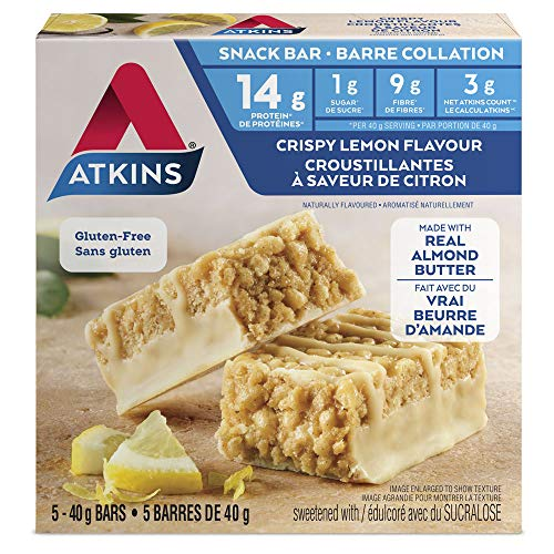 Atkins Snack Bars, Crispy Lemon, 13g Protein, 1g Sugar,, used for sale  Delivered anywhere in Canada