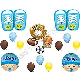 ITu0027S A BOY SPORTS Theme Baby Shower Balloons Decoration Supplies Shoes  Football
